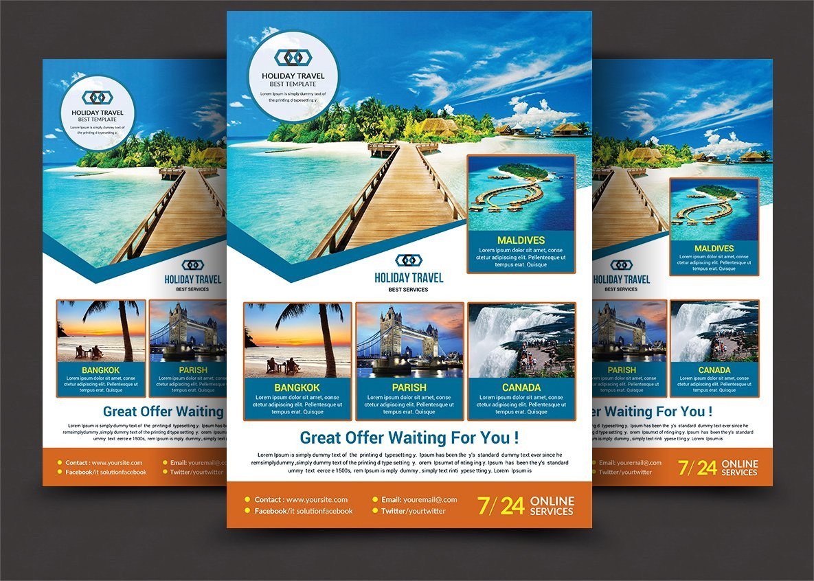 Travel Flyer Template Free Holiday Travel Flyer Flyer Templates Creative Market