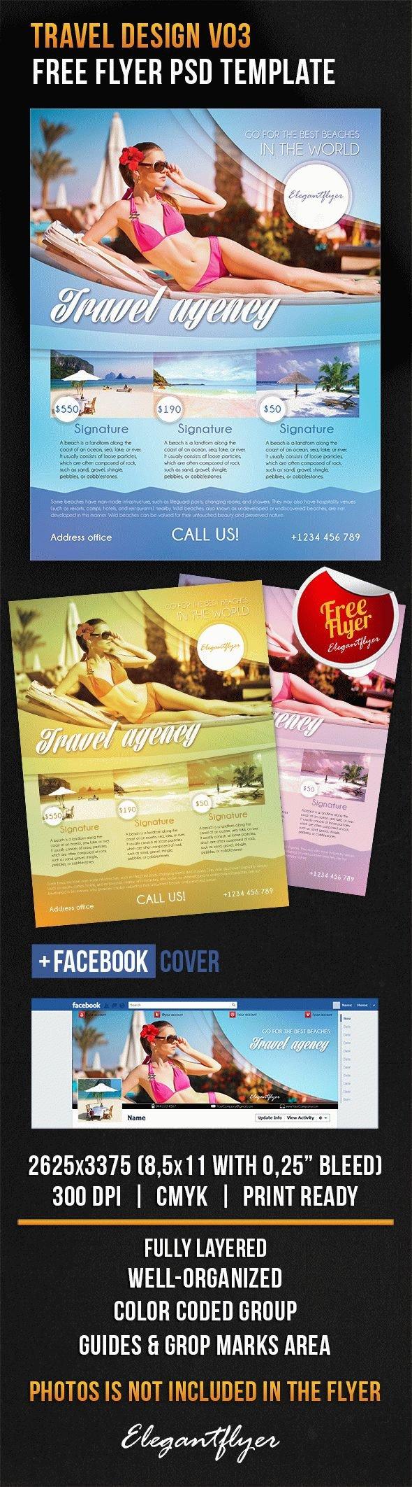 Travel Flyer Template Free Travel Design V03 – Free Flyer Psd Template – by Elegantflyer
