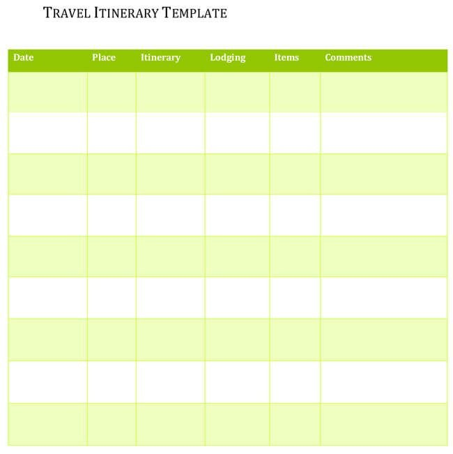 Travel Itinerary Template Google Docs 5 Travel Itinerary Templates for Excel and Word