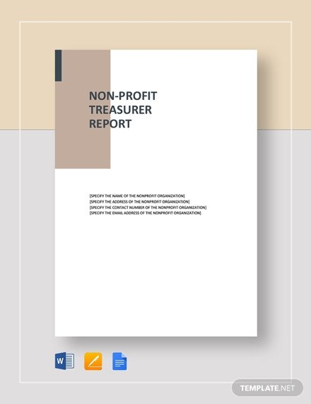 Treasurer Report Template Non Profit Treasurer Report Template 20 Free Sample Example