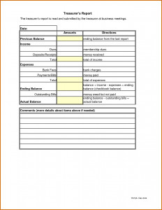 Treasurer Report Template Non Profit Treasurer S Report Template