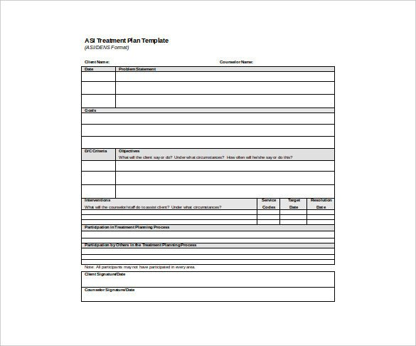 Treatment Plan Template Word Psychotherapy Treatment Plan Template