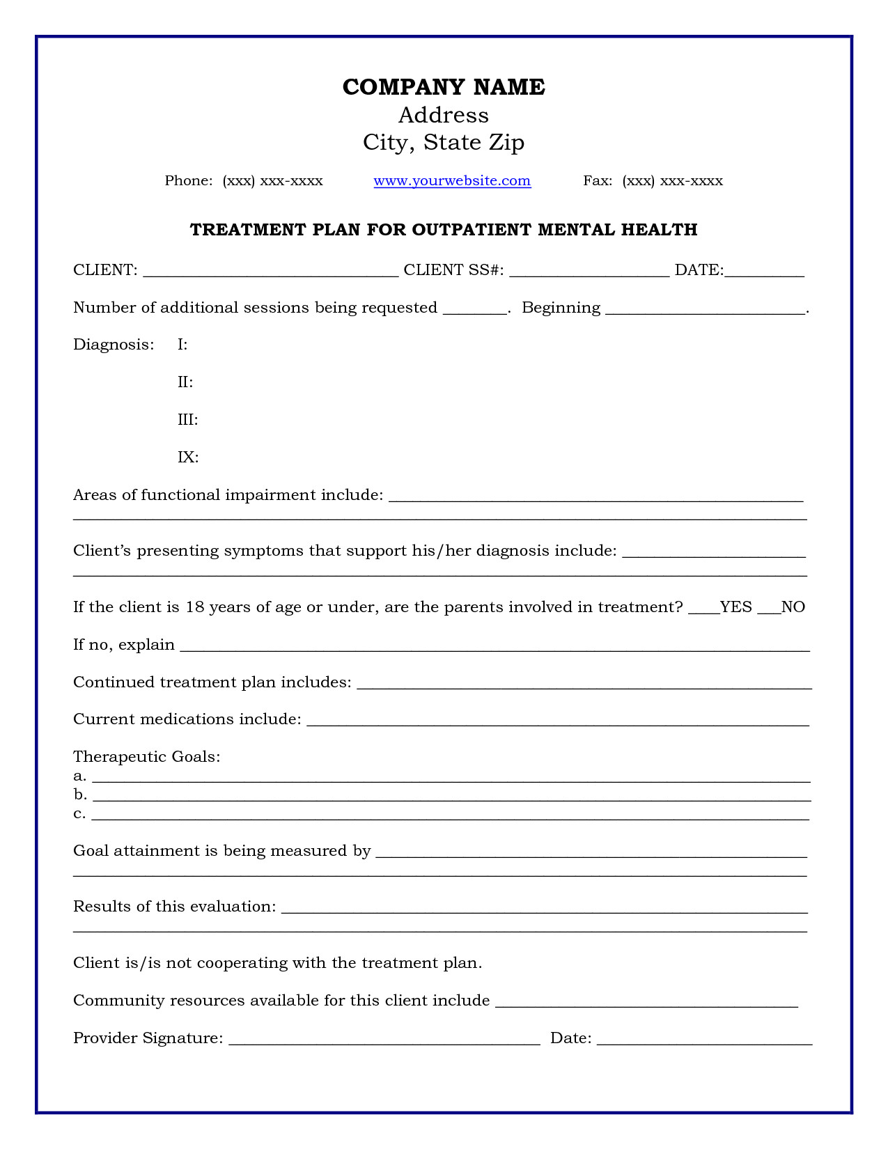 Treatment Plan Template Word Treatment Plan Template