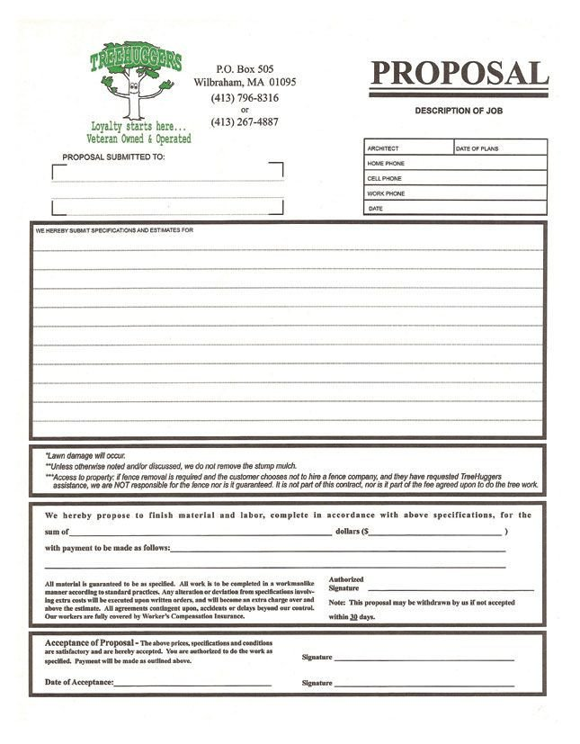 Tree Trimming Estimate Template 3 Part Proposal form for A Tree Removal Pany