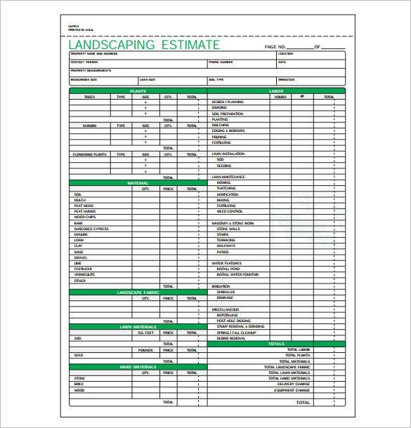 Tree Trimming Estimate Template Landscaping Estimate Template Pdf format Download 585
