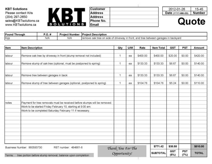Tree Trimming Estimate Template Professional Quotes Receipts Example Tree Removal