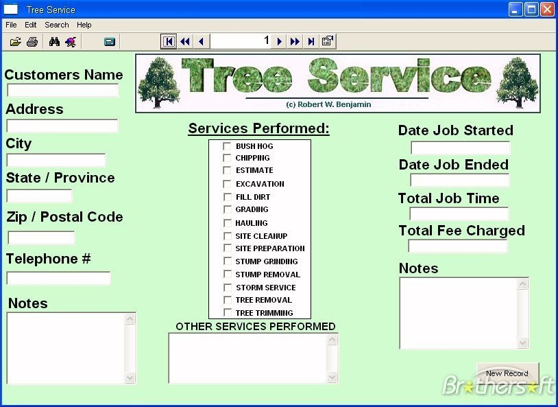Tree Trimming Estimate Template software for A Small Tree Service Business Cutting