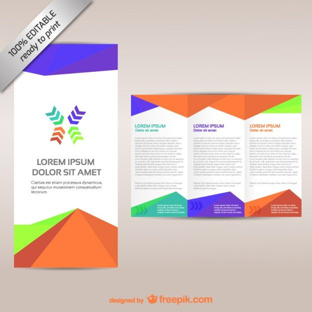 Tri Fold Brochure Template Free Colorful Tri Fold Brochure Template Vector