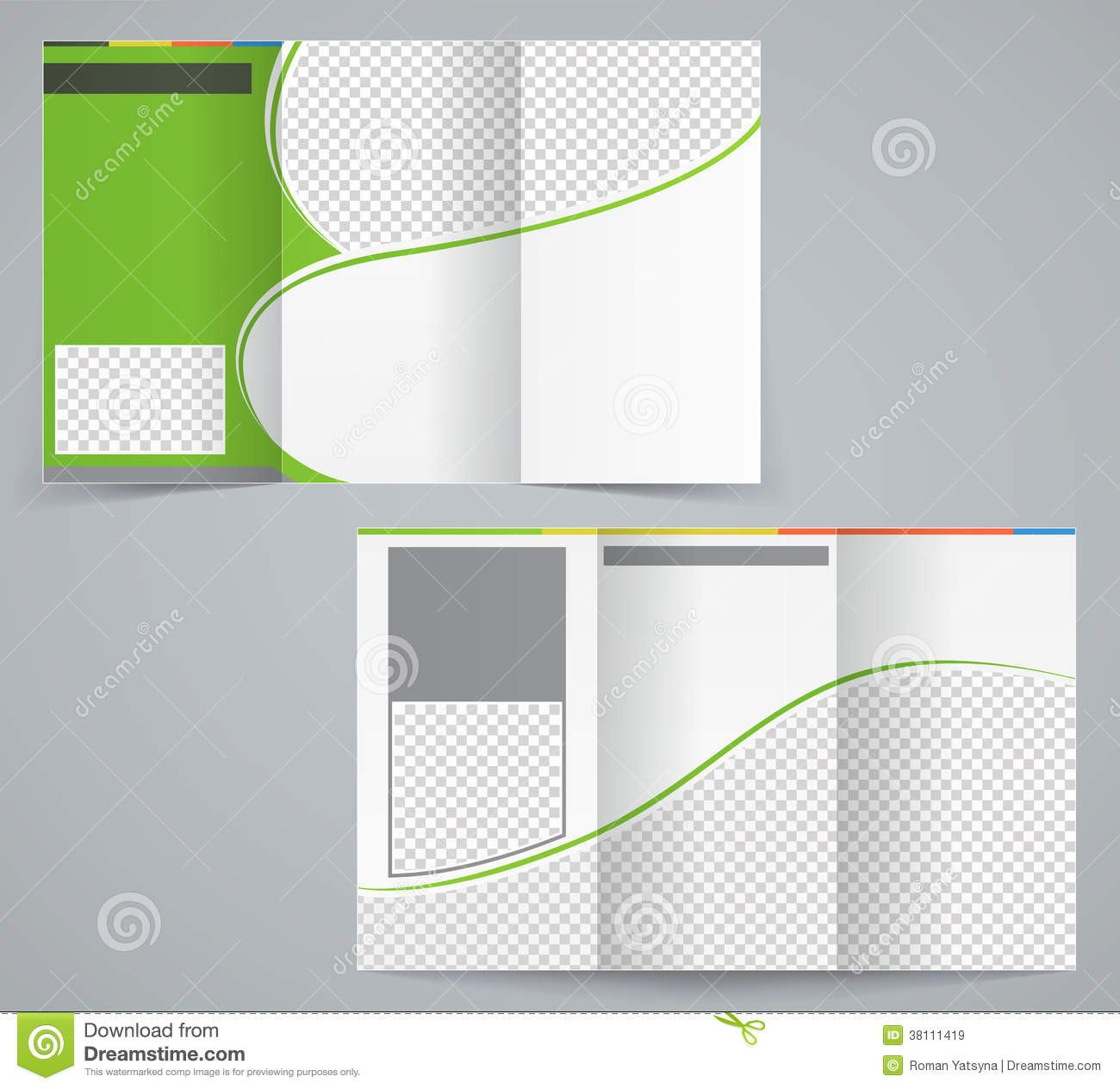 Tri Fold Brochure Template Illustrator Tri Fold Business Brochure Template Vector Green Stock