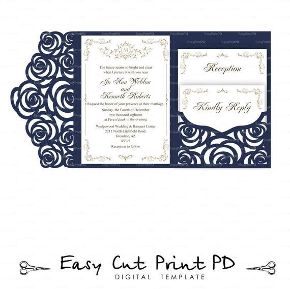 Tri Fold Invitation Templates Set Of Tri Fold Pocket Roses Envelope 5x7 Wedding