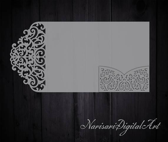 Tri Fold Invitation Templates Tri Fold 5x7 Wedding Invitation Pocket Envelope Svg
