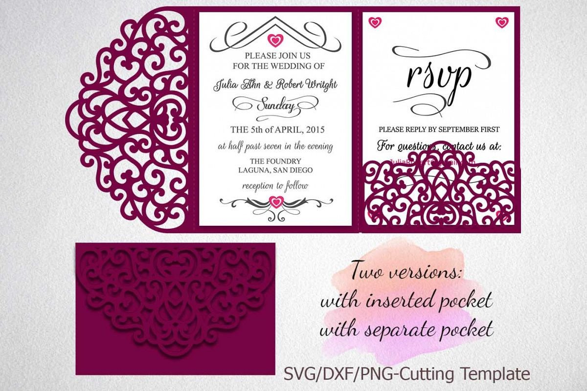 Tri Fold Invitation Templates Tri Fold Wedding Invitation Pocket Envelope Svg Dxf Template