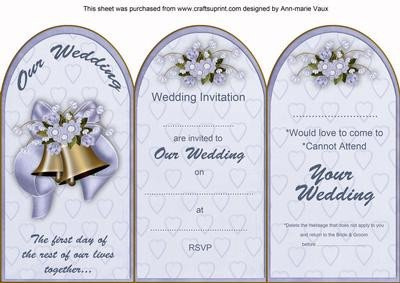 Tri Fold Invitations Template Blue Wedding Bells Wedding Invitation & Rsvp Tri Fold Card