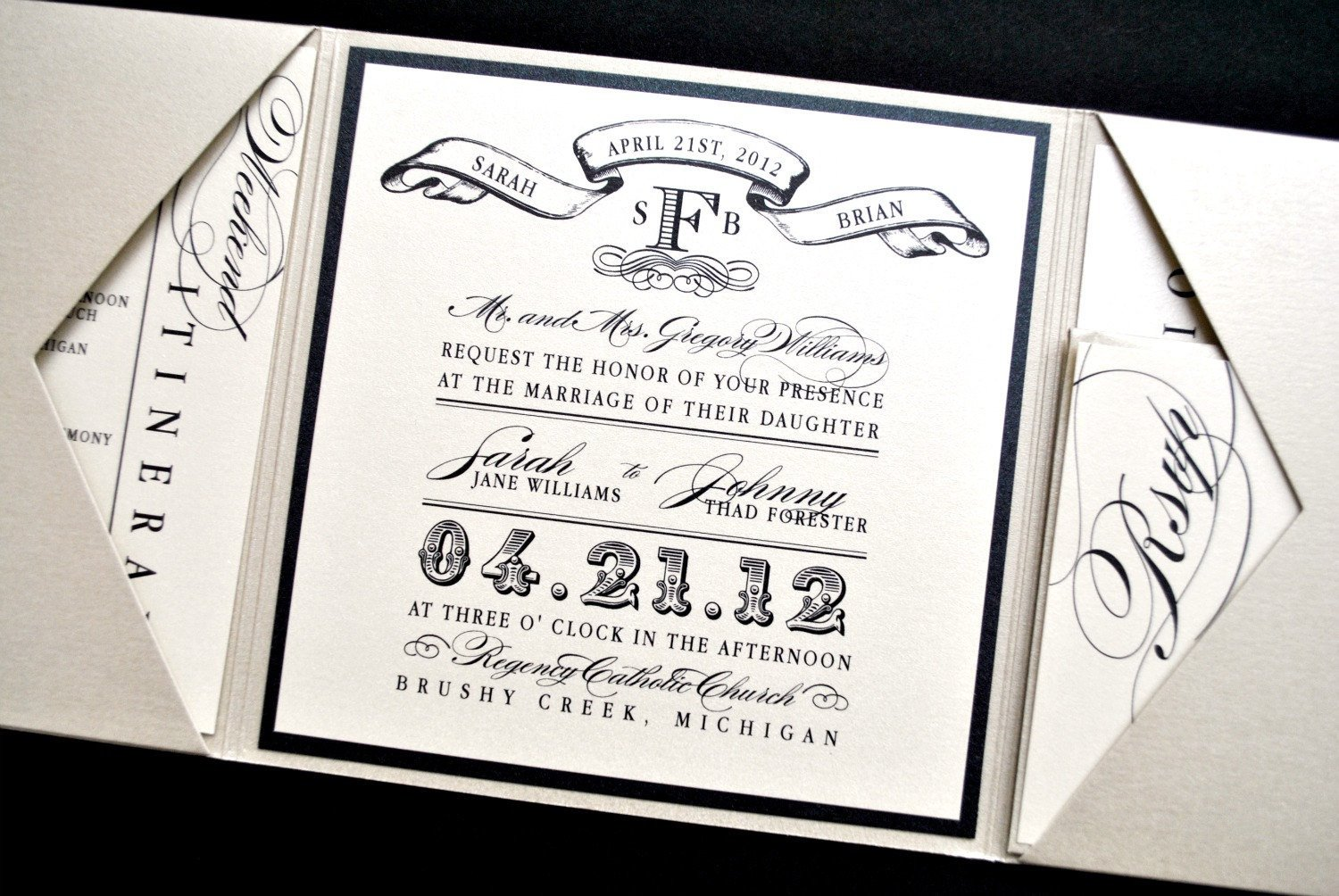 Tri Fold Invitations Template Miranda Wedding Invitation Suite with Vintage Luggage Tag Look