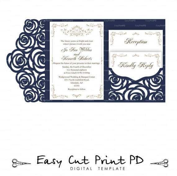 Tri Fold Invitations Template Set Of Tri Fold Pocket Roses Envelope 5x7 Wedding