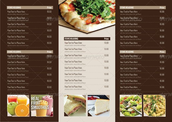 Tri Fold Menu Templates 22 Tri Fold Menu Templates – Free Sample Example format