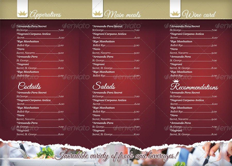 Tri Fold Menu Templates 40 Psd & Indesign Food Menu Templates for Restaurants