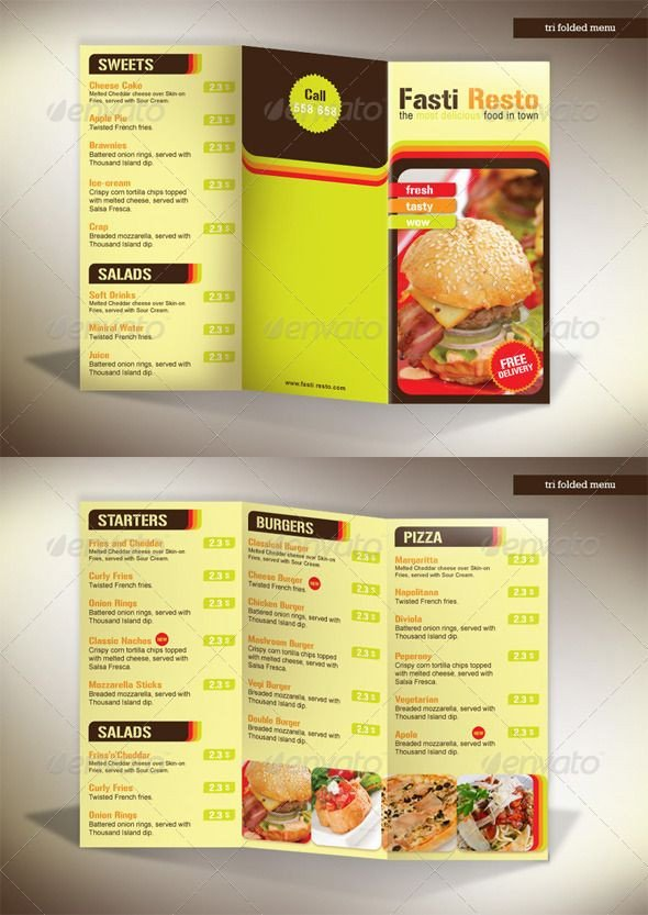 Tri Fold Menu Templates 60 Premium Restaurant Menu Templates Dzineflip