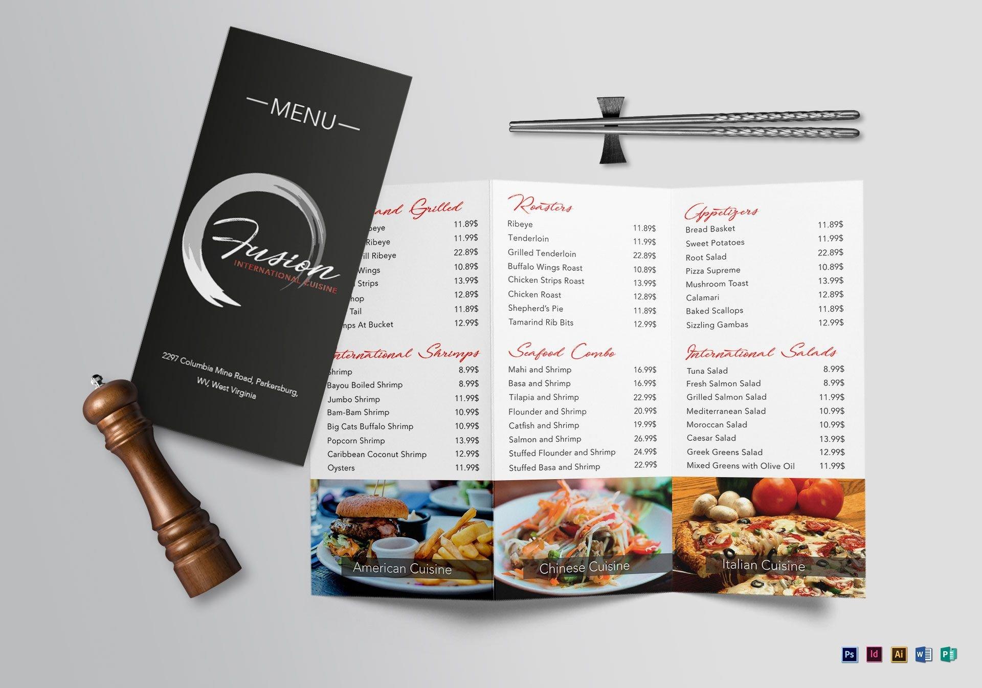 Tri Fold Menu Templates Cuisine Tri Fold Menu Design Template In Psd Word