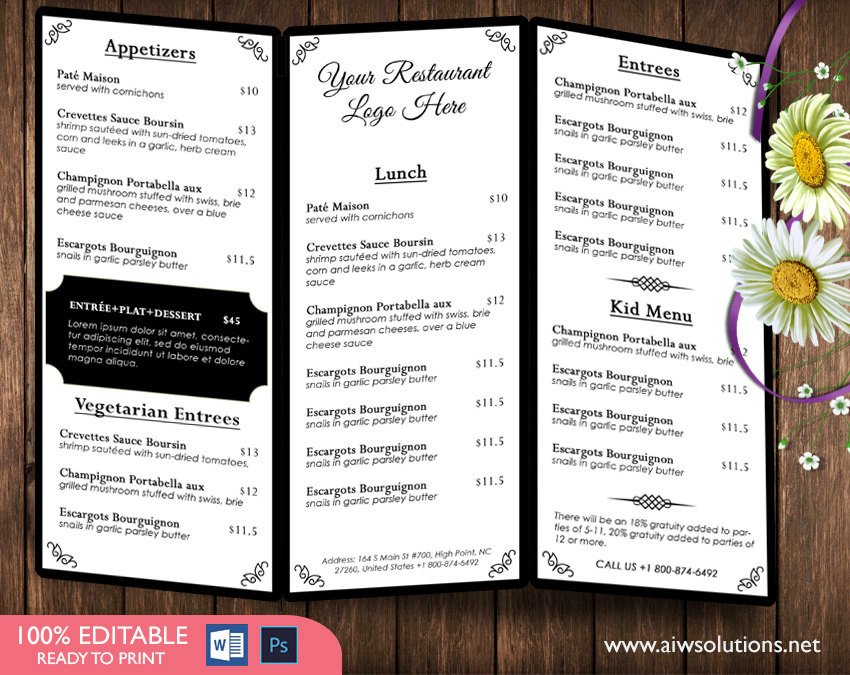 Tri Fold Menu Templates Design & Templates Menu Templates Wedding Menu Food
