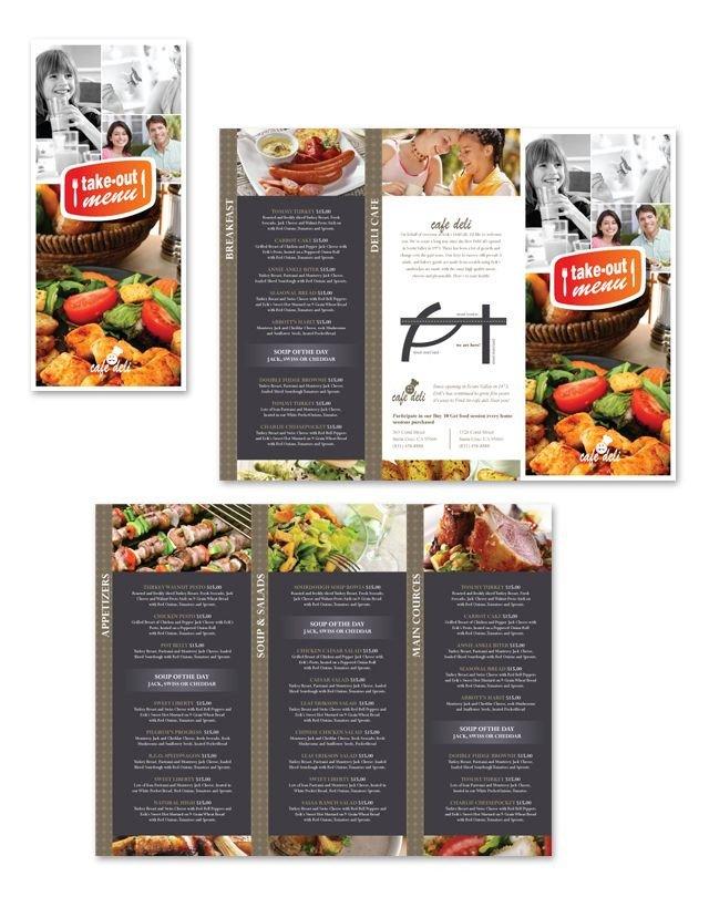 Tri Fold Menu Templates New Cafe Deli Take Out Tri Fold Menu Template