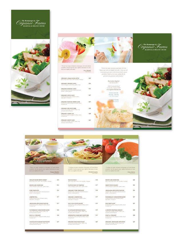 Tri Fold Menu Templates organic Restaurant Tri Fold Menu Template