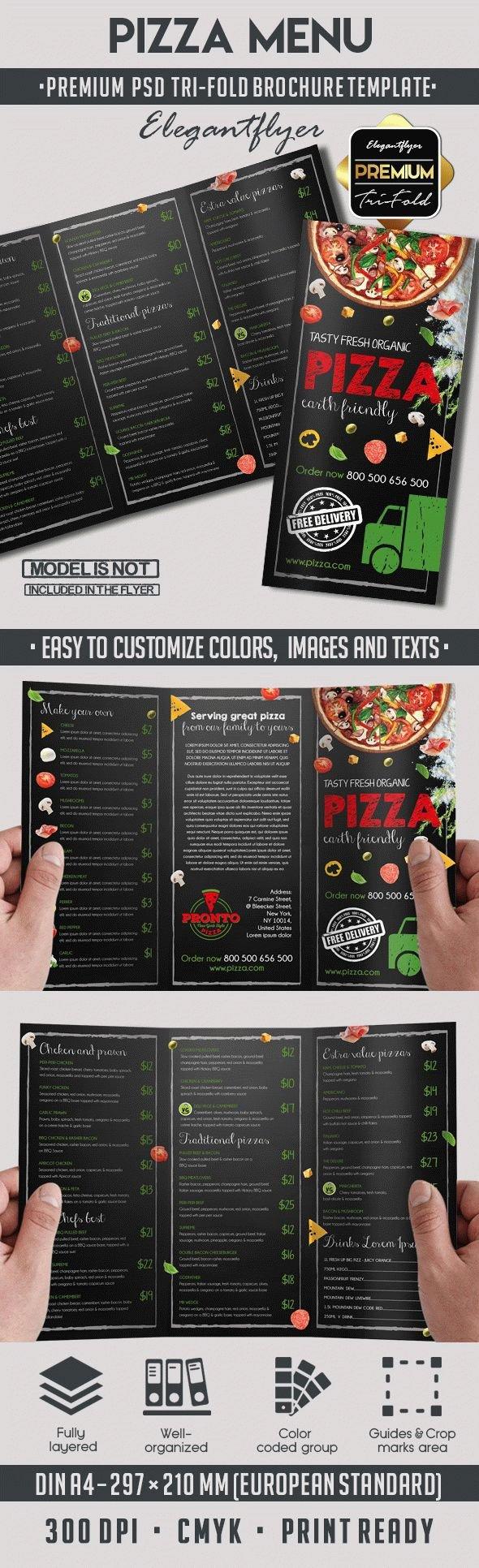 Tri Fold Menu Templates Pizza Menu Design Tri Fold Brochure Template – by Elegantflyer