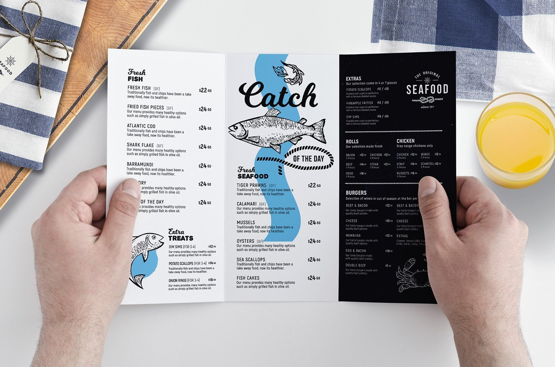 Tri Fold Menu Templates Tri Fold Seafood Menu Template Brochure Templates