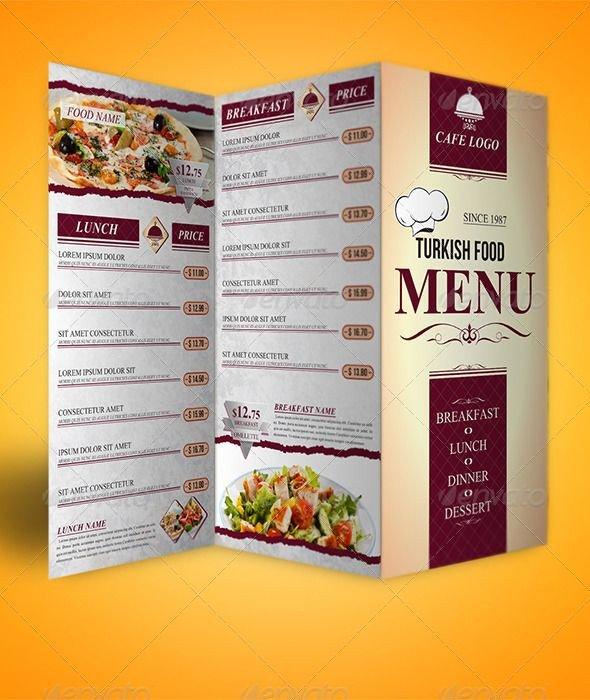 Tri Fold Menu Templates Trifold Menu Template Food Menus
