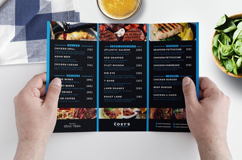 Tri Fold Menu Templates Trifold Restaurant Menu Template Brochure Templates