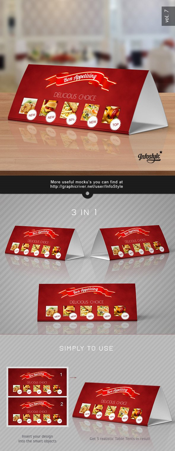 Tri Fold Table Tent Template Tri Fold Table Tent Mock Up Template Vol 7 by Itembridge