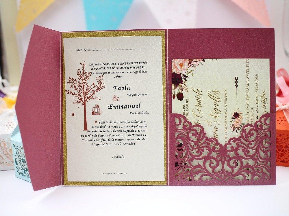 Tri Fold Wedding Invitations 1pcs Sample Elegant Floral Tri Fold Laser Cutting