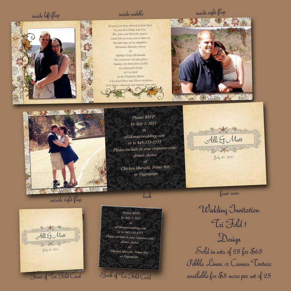 Tri Fold Wedding Invitations 5x5 Tri Fold Custom Wedding Invitation by Unrealphoto On Etsy