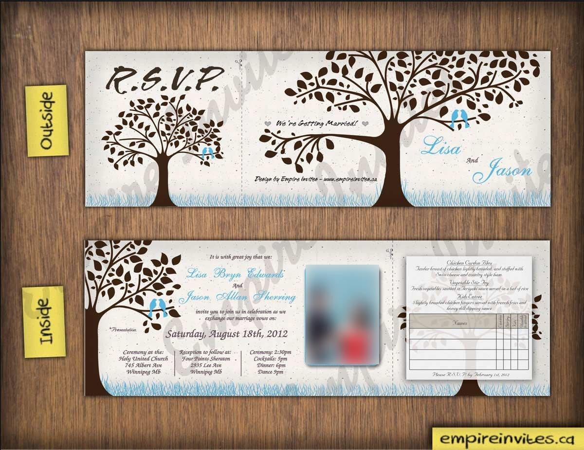 Tri Fold Wedding Invitations Custom Love Bird Wedding Invitations From Winnipeg Canada