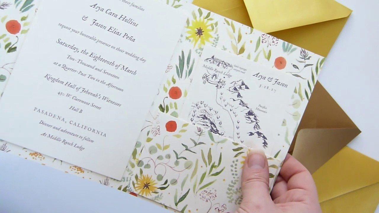 Tri Fold Wedding Invitations Custom Wedding Invitation Tri Fold Cover with Pocket