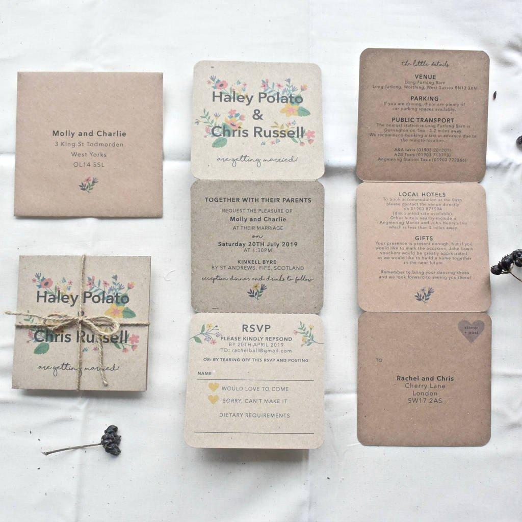 Tri Fold Wedding Invitations Floral Tri Fold Wedding Invitation by Paper and Inc