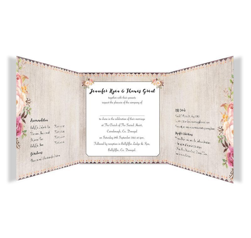 Tri Fold Wedding Invitations Flowering Affection Tri Fold Wedding Invitation Loving