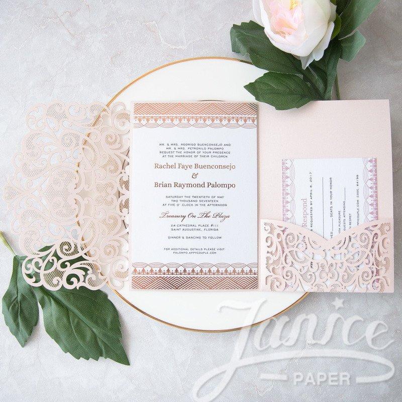 Tri Fold Wedding Invitations Graceful Love Heart Tri Fold Laser Cut Pocket wholesale