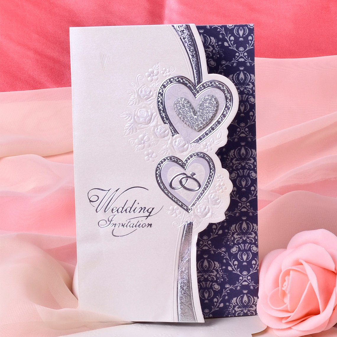 Tri Fold Wedding Invitations Heart Style Tri Fold Invitation Cards Set Of 50