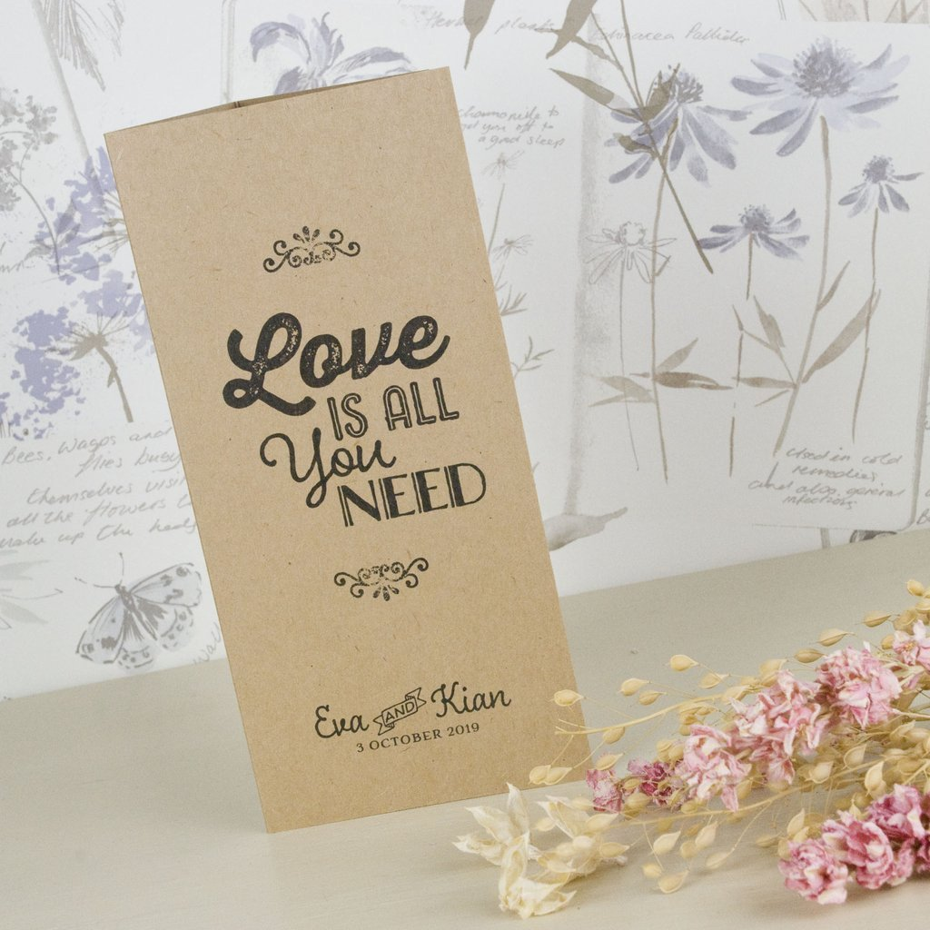 Tri Fold Wedding Invitations Love is All You Need Kraft Tri Fold Wedding Invitation