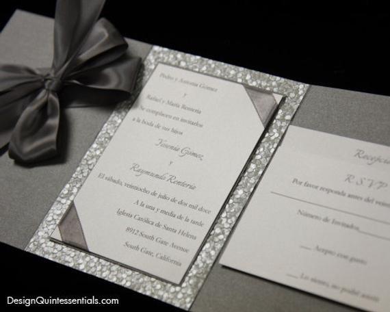 Tri Fold Wedding Invitations Pewter Embossed Pebble Wedding Tri Fold Invitation Suite