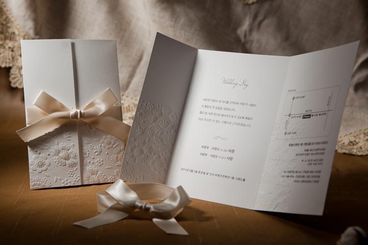 Tri Fold Wedding Invitations Vintage Embossed Tri Fold Wedding Invitation with Ribbon