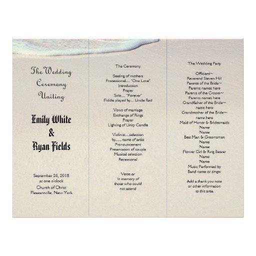 Tri Fold Wedding Program Template Beach Sand Tri Fold Wedding Program Template Letterhead