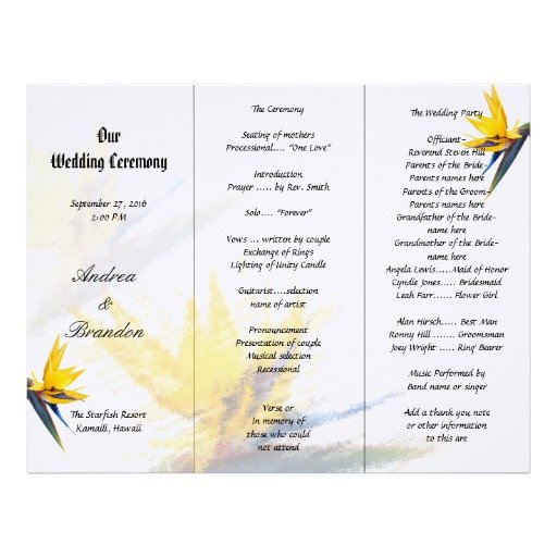 Tri Fold Wedding Program Template Bird Of Paradise Tri Fold Wedding Program Template
