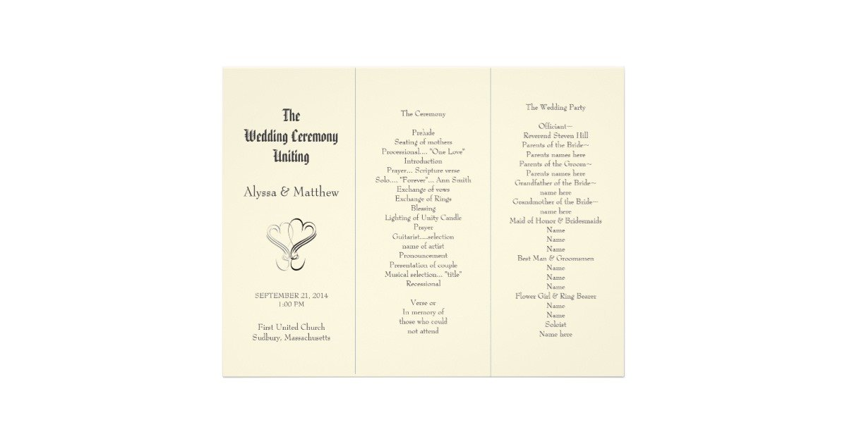 Tri Fold Wedding Program Template Blush Tri Fold Two Hearts Wedding Program Template