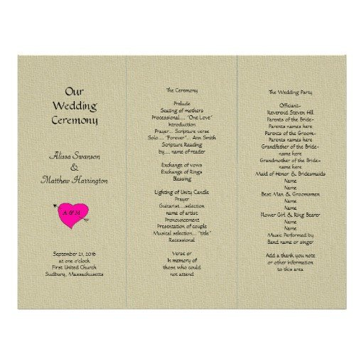 Tri Fold Wedding Program Template Burlap and Heart Tri Fold Wedding Program Template