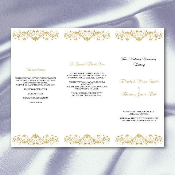 Tri Fold Wedding Program Template Gold Wedding Program Template Diy Tri Fold Ceremony Programs