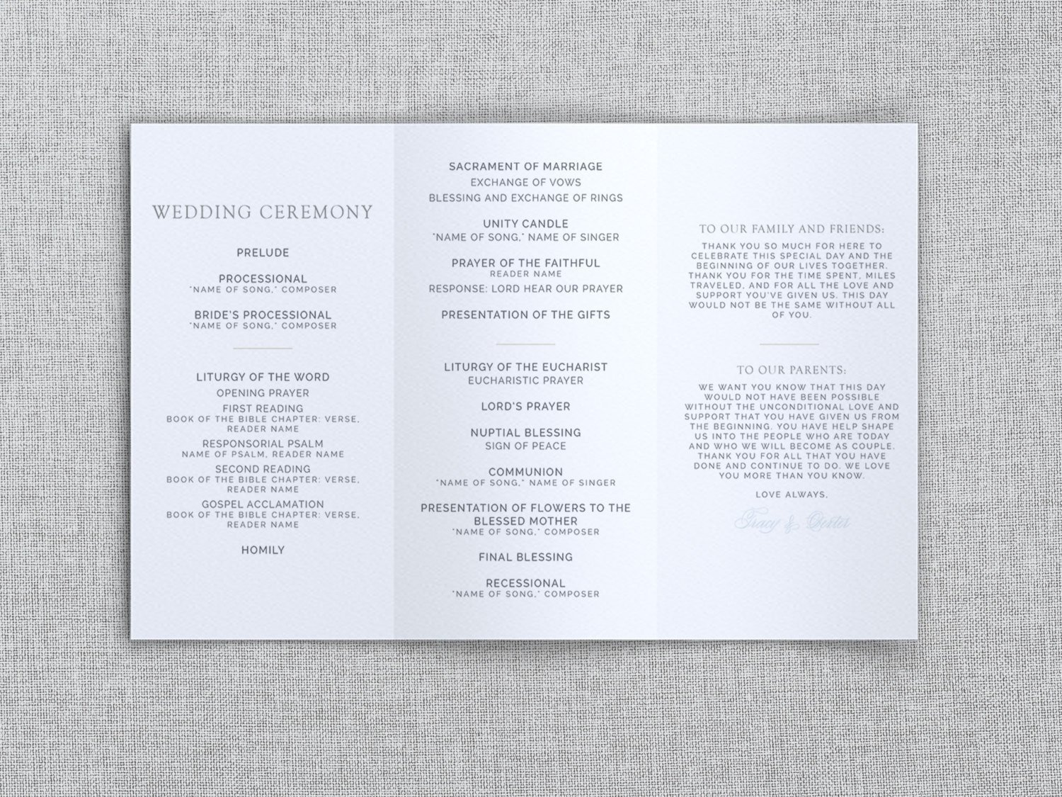Tri Fold Wedding Program Template Just My Type Wedding Tri Fold Wedding Program Template
