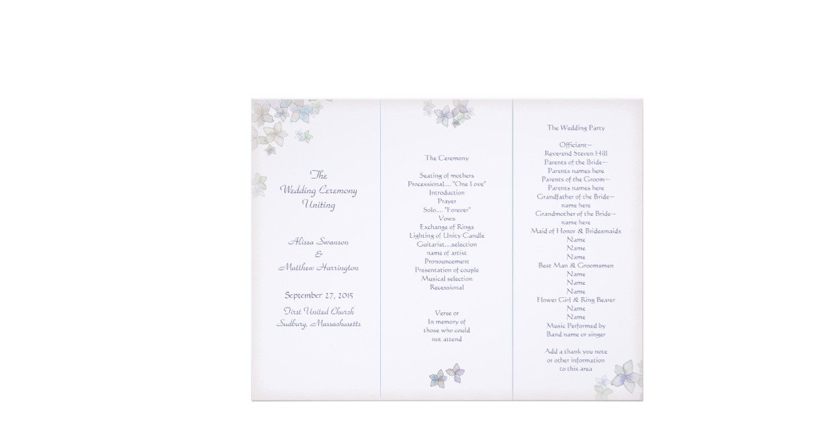 Tri Fold Wedding Program Template Lavender Art Tri Fold Wedding Program Template Letterhead