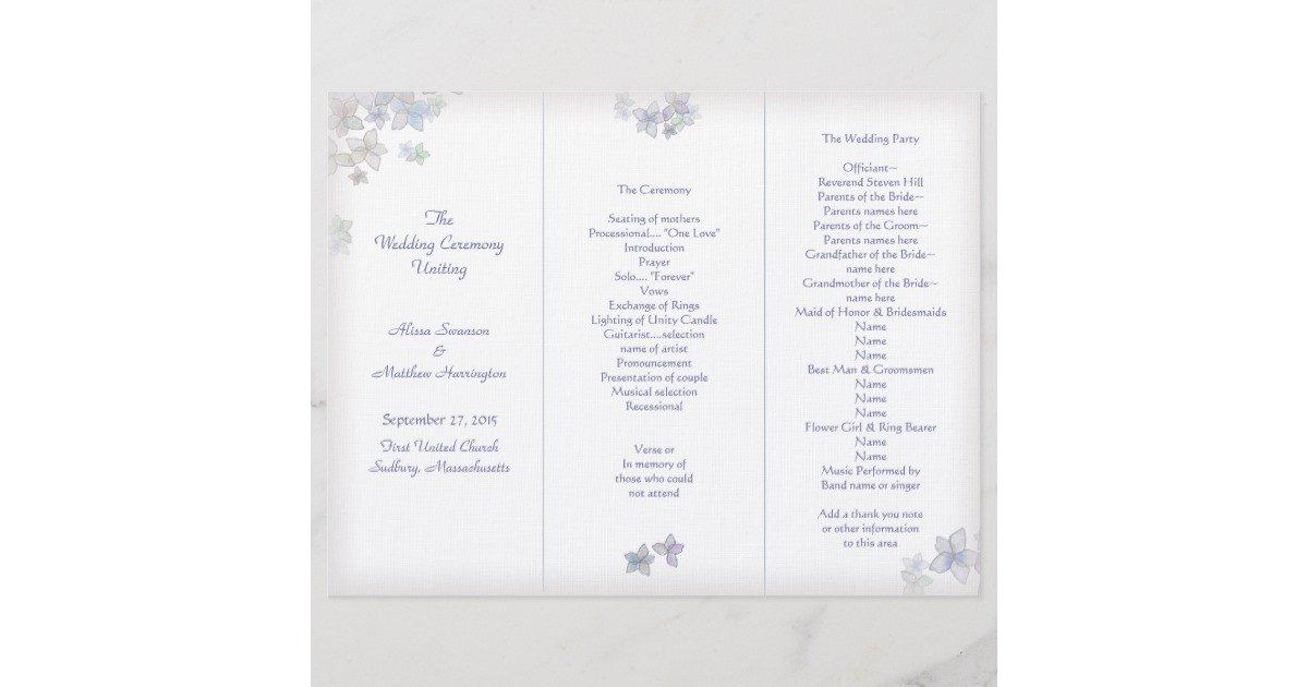 Tri Fold Wedding Program Template Lavender Art Tri Fold Wedding Program Template